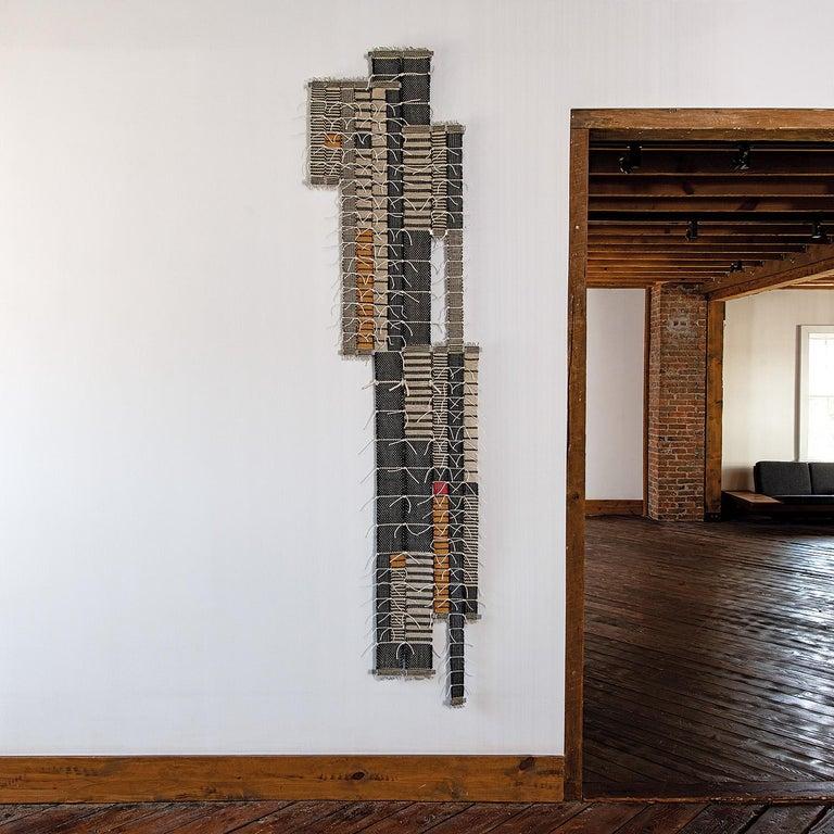 Record, Blair Tate, Geometric woven textile wall sculpture - Sculpture by Blair Tate