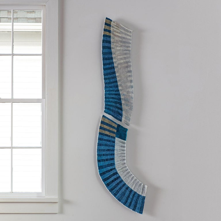 Meeting Point, Caroline Bartlett, Contemporary Abstract Textile Wall Sculpture - Gray Abstract Sculpture by Caroline Bartlett