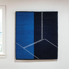 Form on Black and Blue, Abstract Geometric Tapestry, Gudrun Pagter