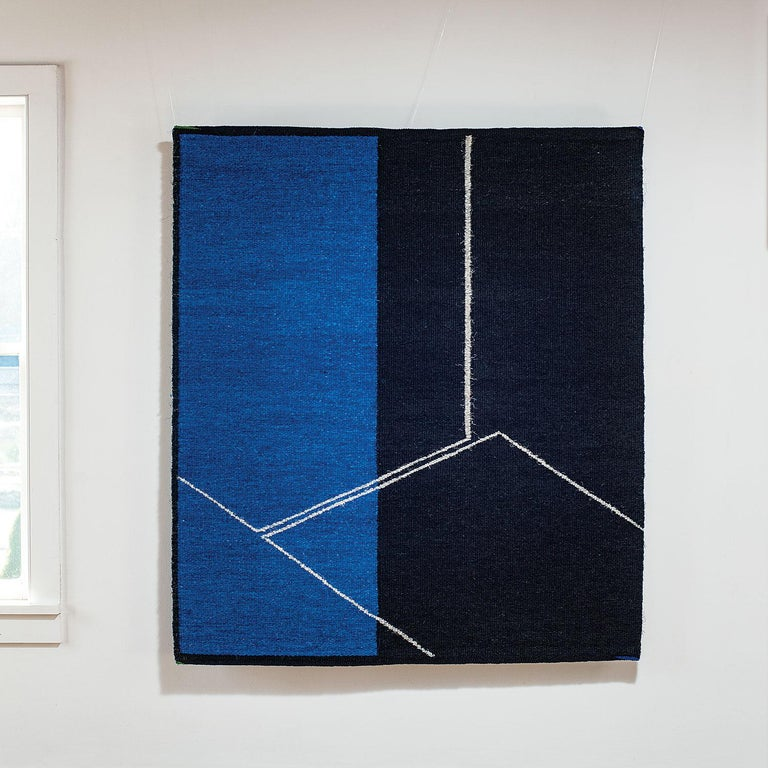Form on Black and Blue, Abstract Geometric Tapestry, Gudrun Pagter - Sculpture by Gudrun Pagter