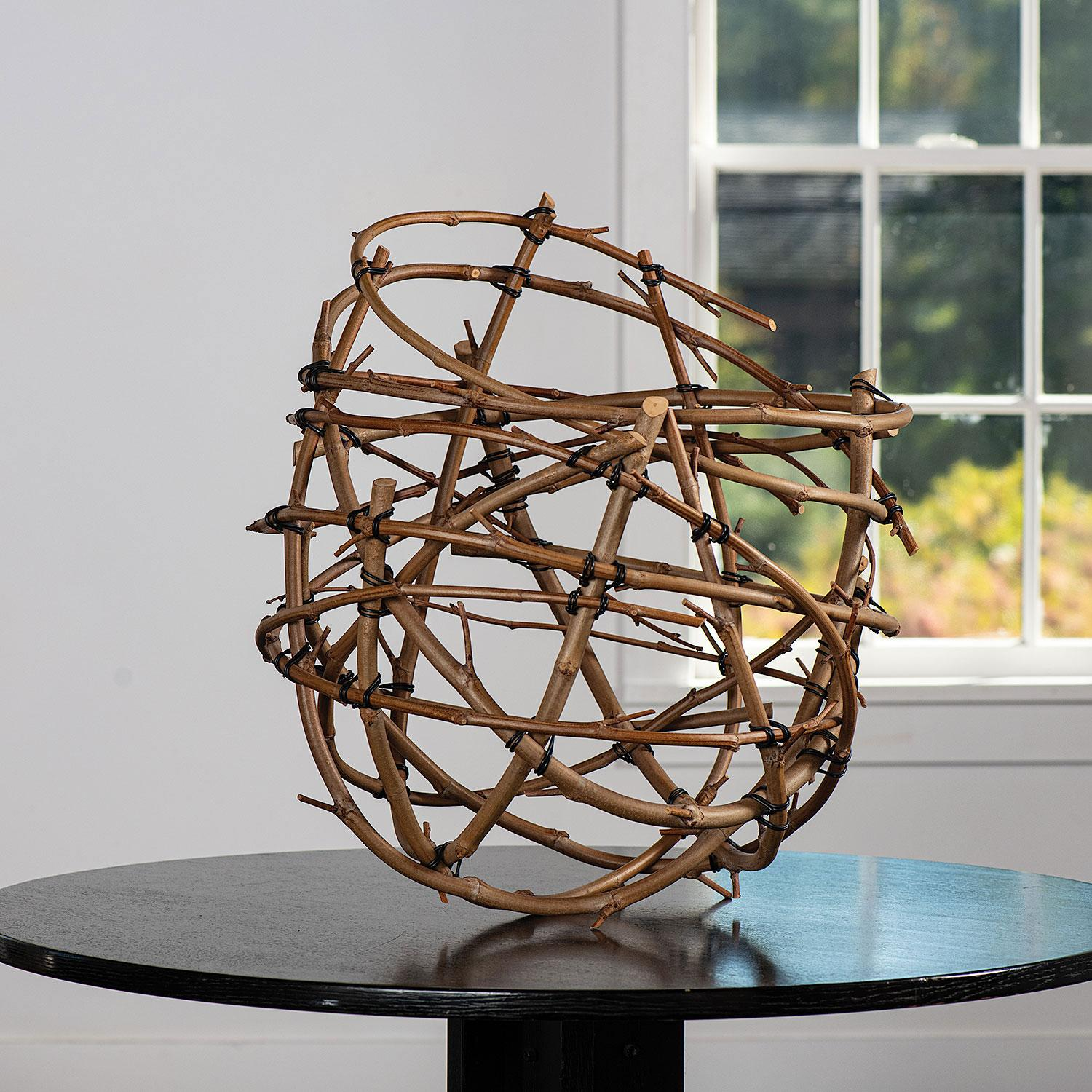 Ribbed Structure, Abstract Vessel Sculpture by Gyöngy Laky