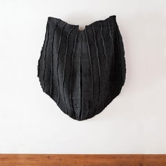 Black Shell, woven abstract wall sculpture by Federica Luzzi