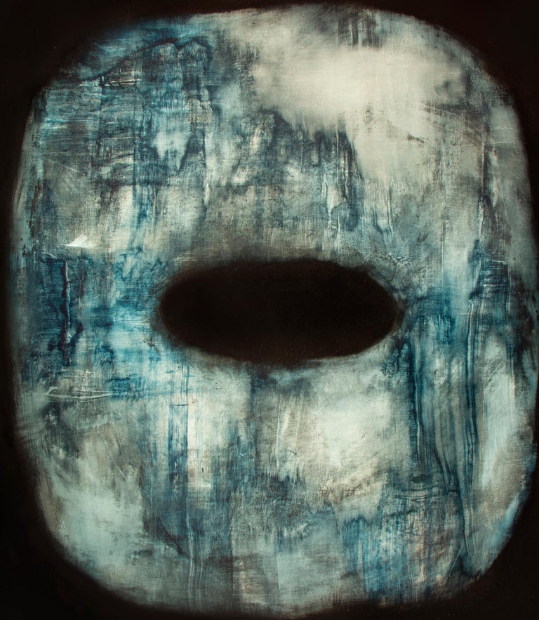 Tsuba - Contemporary Abstract Oil Painting - Black Interior Painting by Alexandre Valette