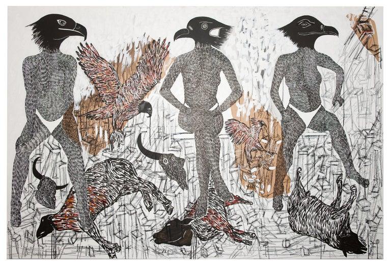 Ousmane Dia Animal Painting - African Contemporary Art - Pacte Mystique