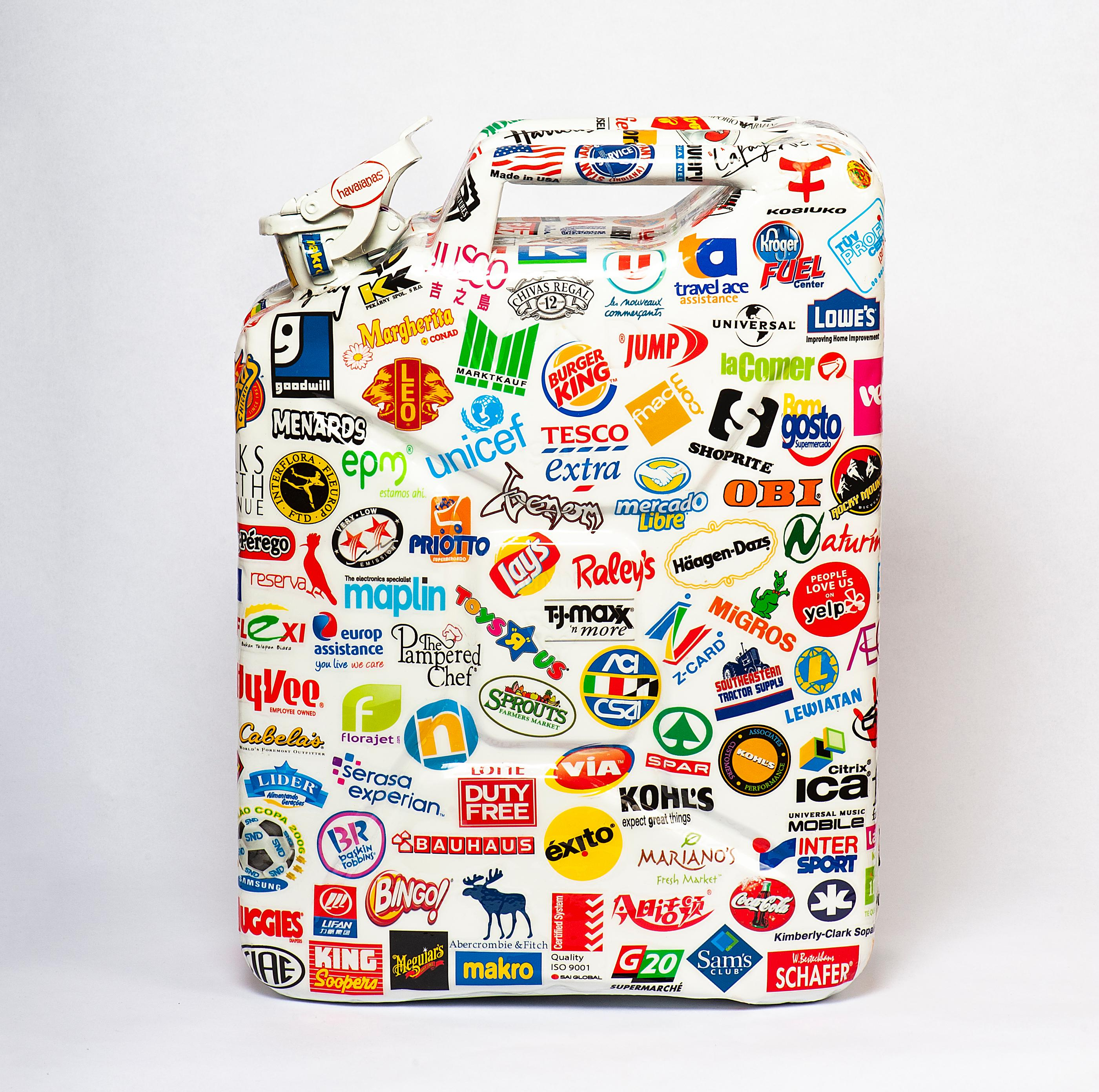 Metal Jerrycan Sculpture with Sticker Ornaments