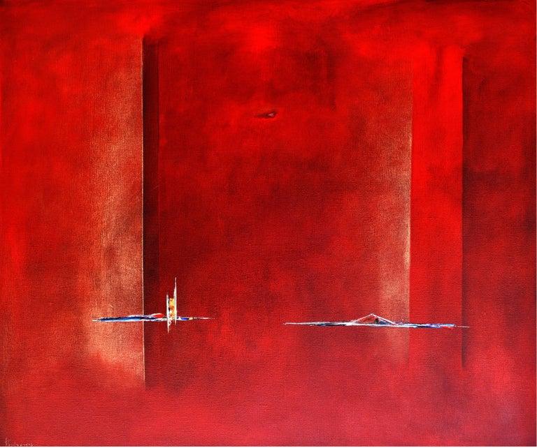 Paula Evers Landscape Painting - Dutch Landscape Red I