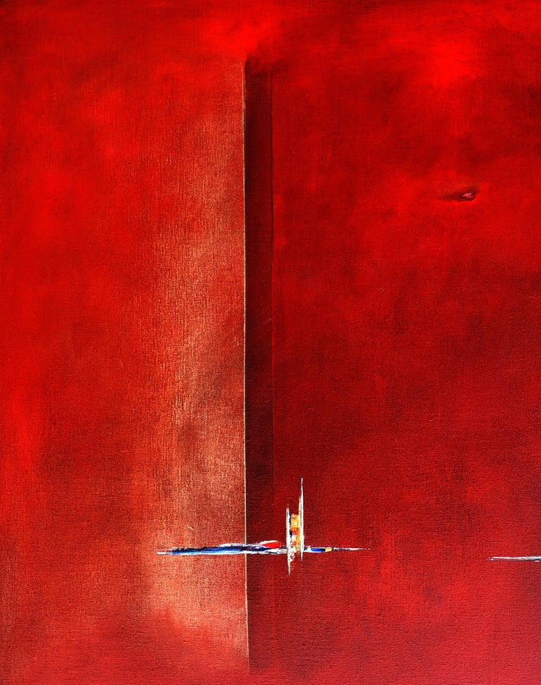 Dutch Landscape Red I - Painting by Paula Evers