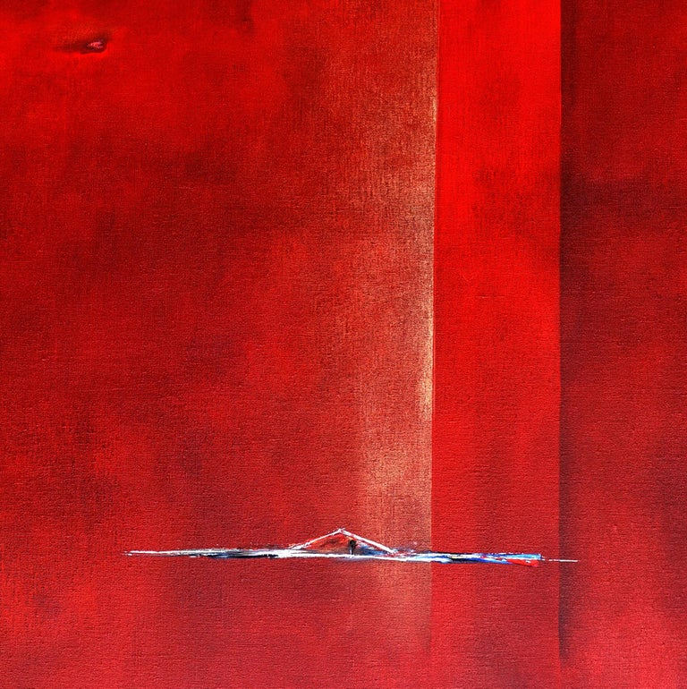 Dutch Landscape Red I - Abstract Expressionist Painting by Paula Evers
