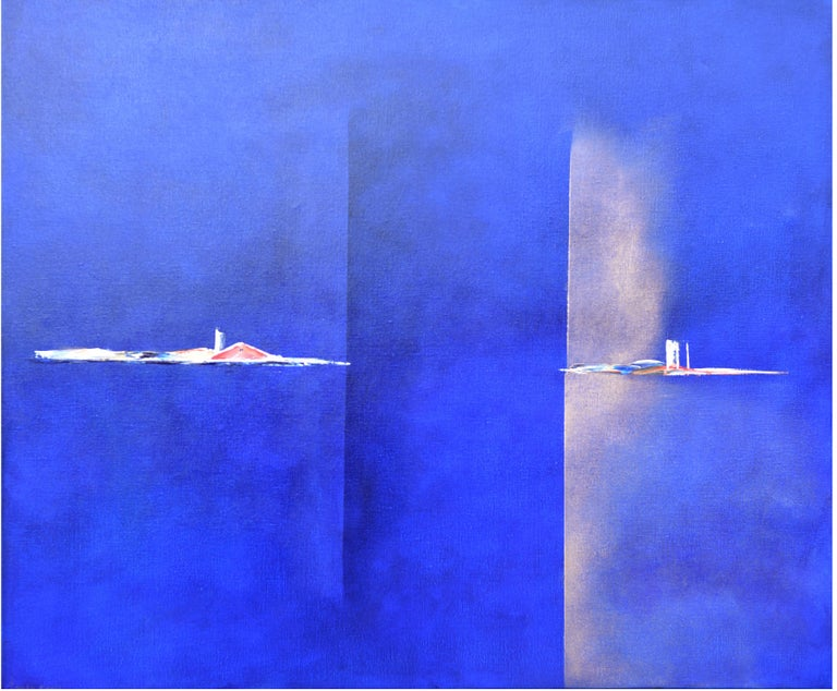 Paula Evers Landscape Painting - Dutch Landscape Blue