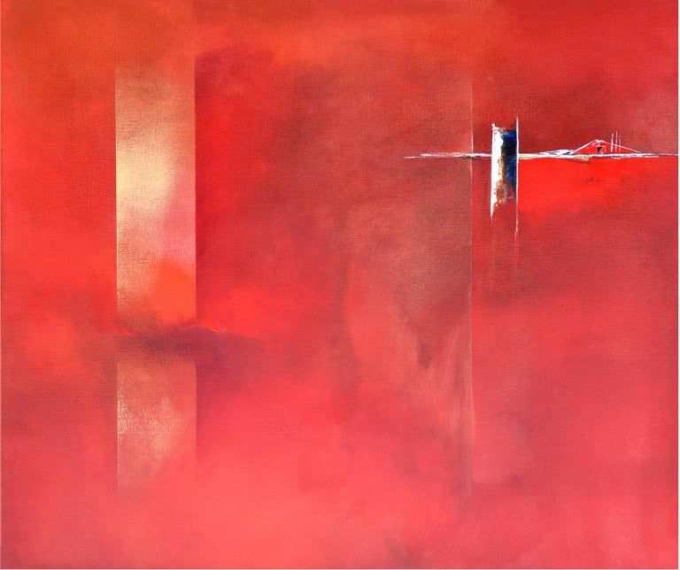 Paula Evers Abstract Painting - Dutch Landscape Red II