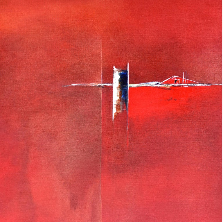 Dutch Landscape Red II - Painting by Paula Evers