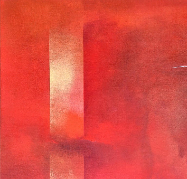 Dutch Landscape Red II - Abstract Expressionist Painting by Paula Evers