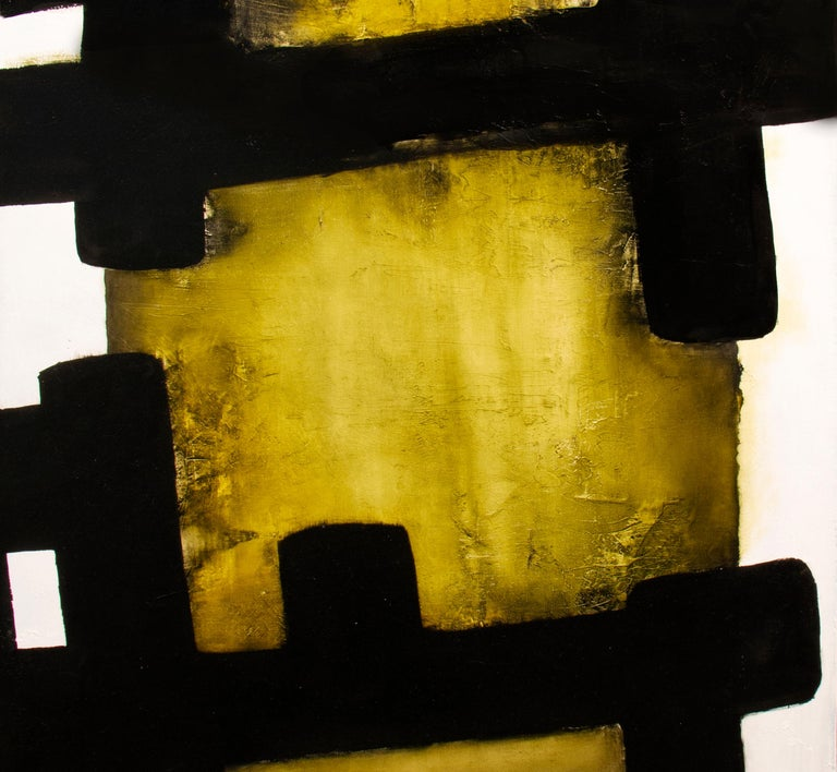 White Eolithe, Contemporary Abstract Oil Painting - Black Abstract Painting by Alexandre Valette