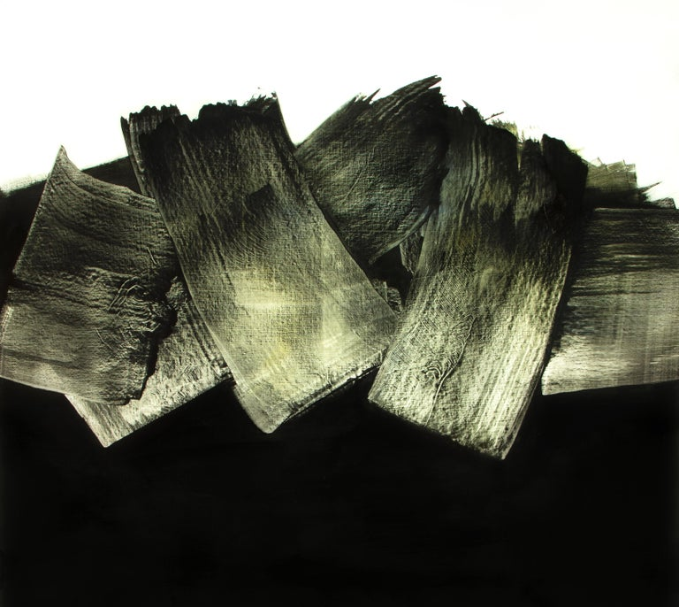 White VH I, Contemporary Abstract Oil Painting - Black Abstract Painting by Alexandre Valette