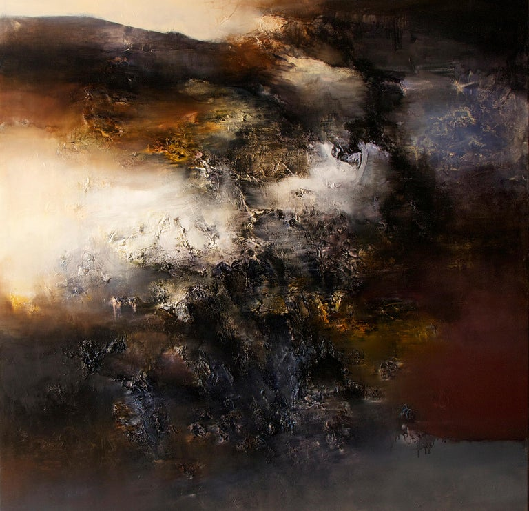 Automne I, Contemporary Abstract Oil Painting - Black Interior Painting by Alexandre Valette
