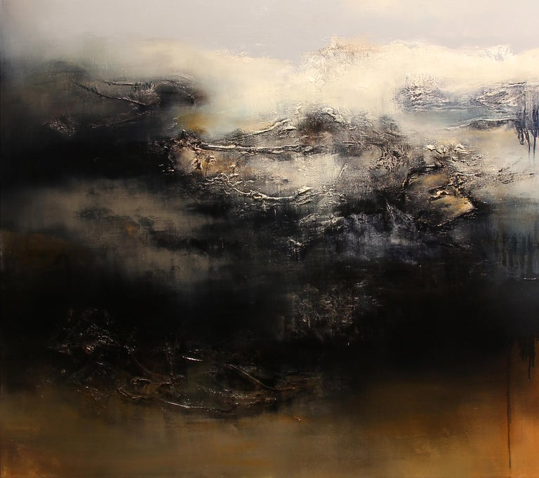 Le Gris, Contemporary Abstract Oil Painting - Black Interior Painting by Alexandre Valette