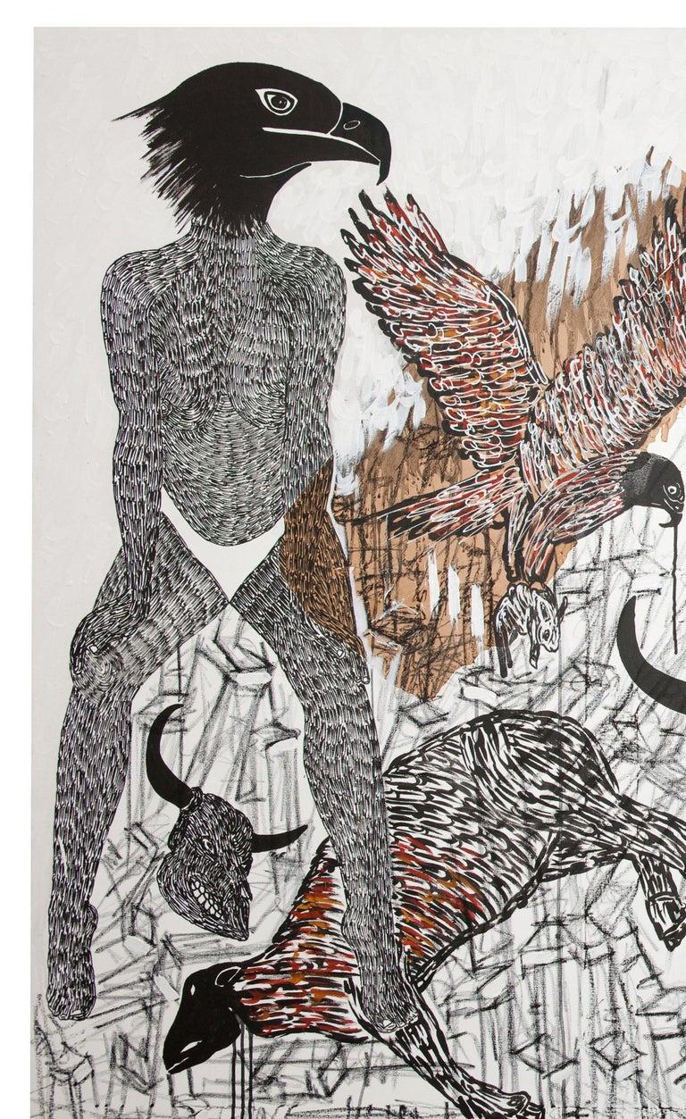 African Contemporary Art - Pacte Mystique - Painting by Ousmane Dia