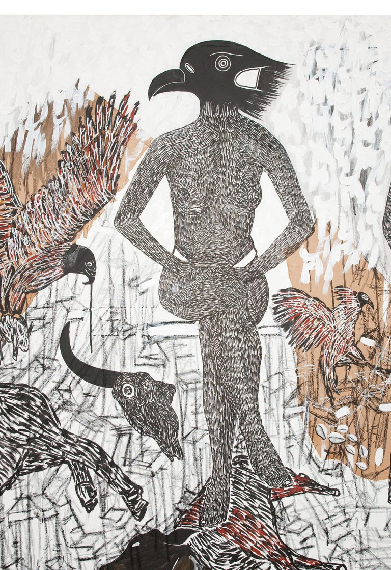 African Contemporary Art - Pacte Mystique - Gray Animal Painting by Ousmane Dia