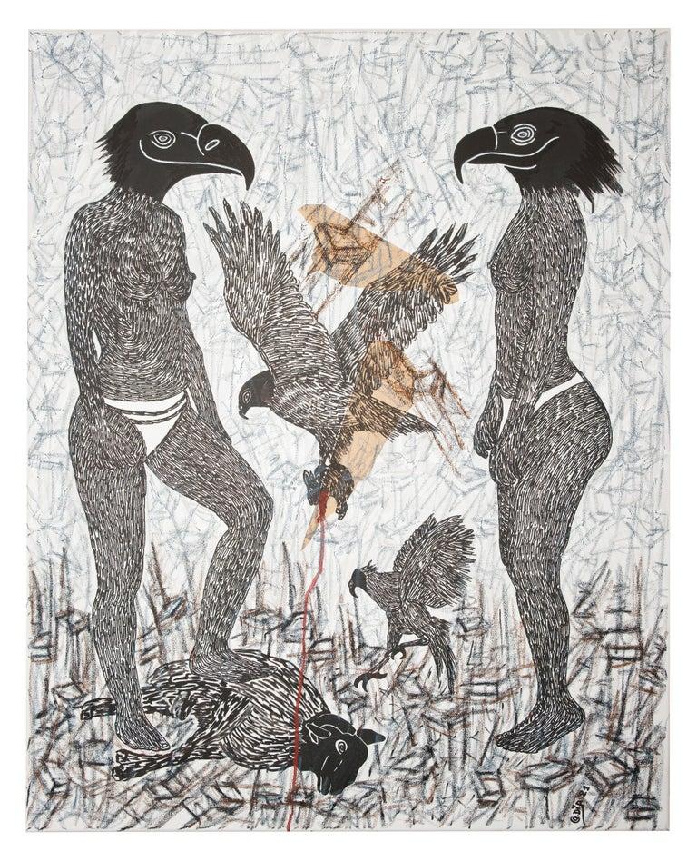 Ousmane Dia Nude Painting - Pacte Mystique  II - African Contemporary Art