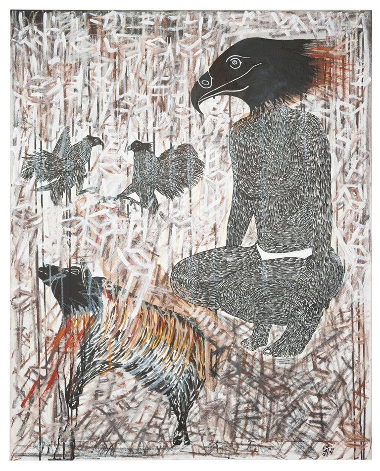 Ousmane Dia Animal Painting - Scène de Sacrifice II - African Contemporary Art