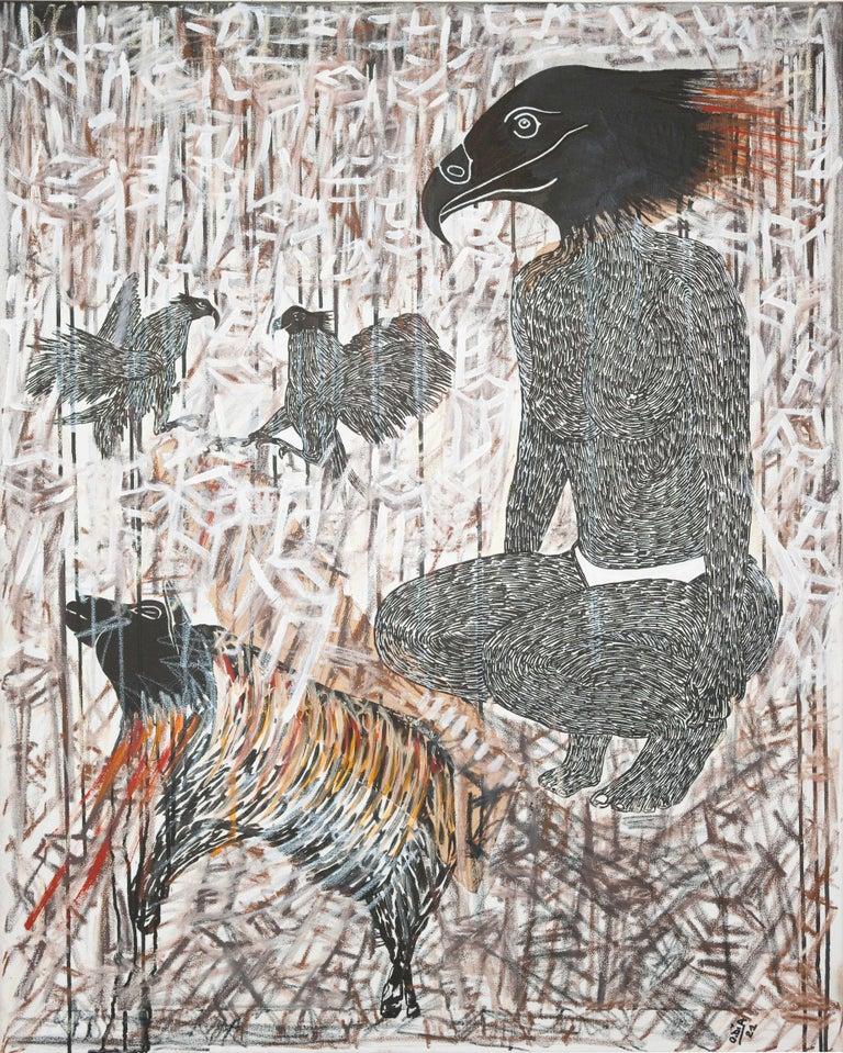 Scène de Sacrifice II - African Contemporary Art - Gray Animal Painting by Ousmane Dia