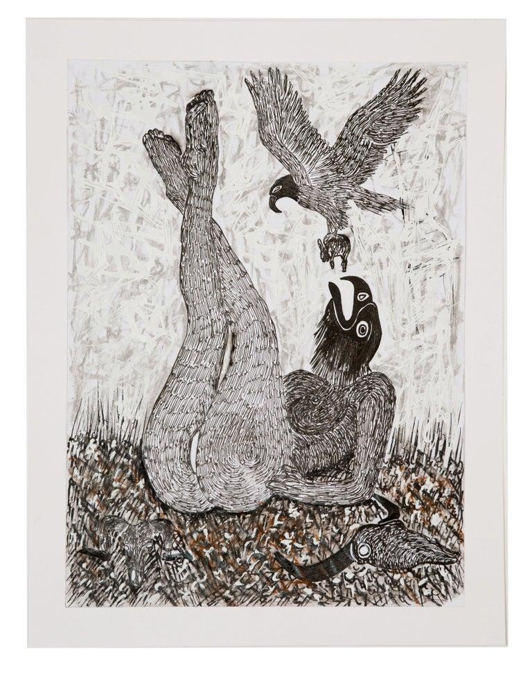 Ousmane Dia Animal Painting - African Contemporary Art - Scène de Sacrifice VIII