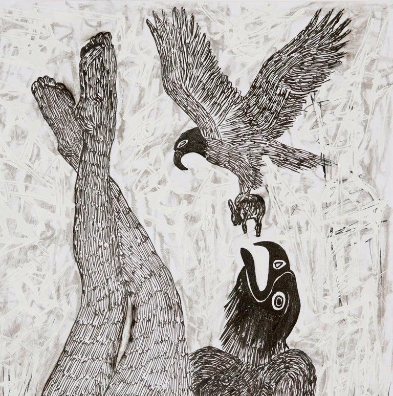 African Contemporary Art - Scène de Sacrifice VIII - Gray Animal Painting by Ousmane Dia
