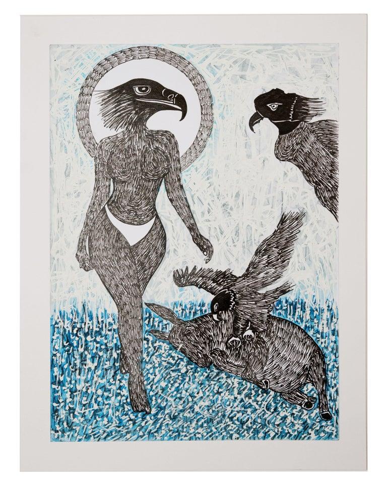 Ousmane Dia Animal Painting - African Contemporary Art - Scène de Sacrifice IX