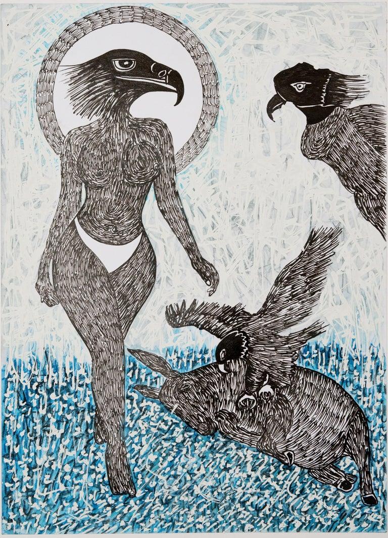 African Contemporary Art - Scène de Sacrifice IX - Painting by Ousmane Dia
