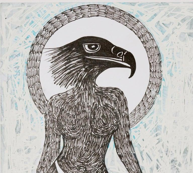 African Contemporary Art - Scène de Sacrifice IX - Gray Animal Painting by Ousmane Dia