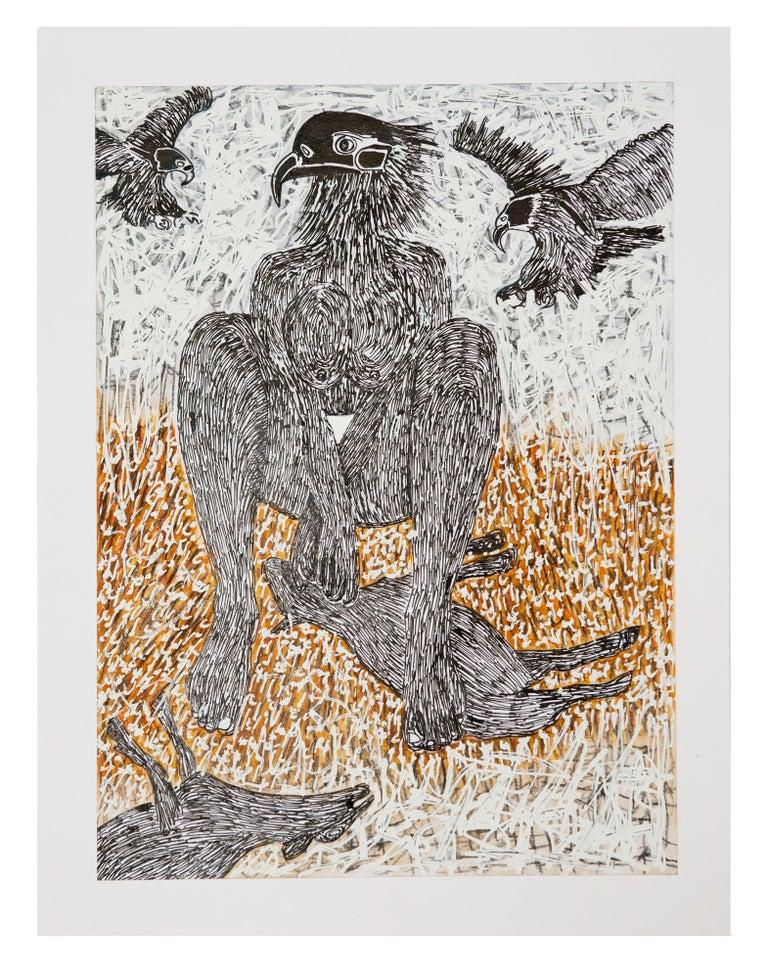 Ousmane Dia Animal Painting - African Contemporary Art - Scène de Sacrifice X