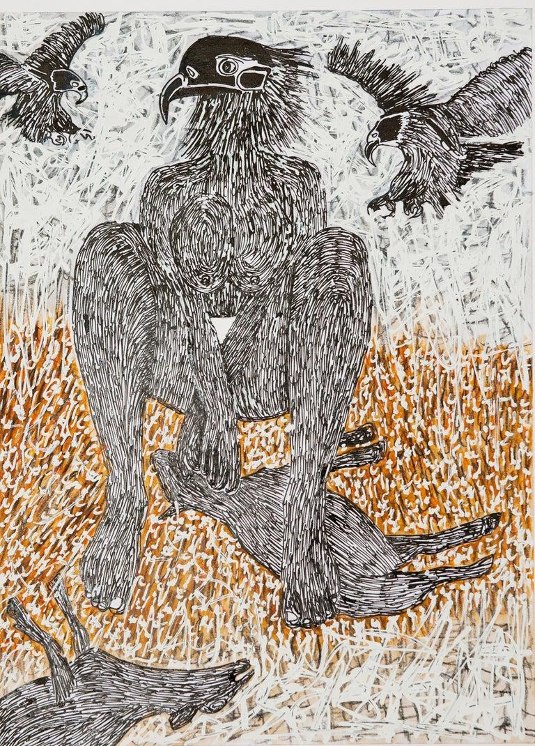 African Contemporary Art - Scène de Sacrifice X - Painting by Ousmane Dia