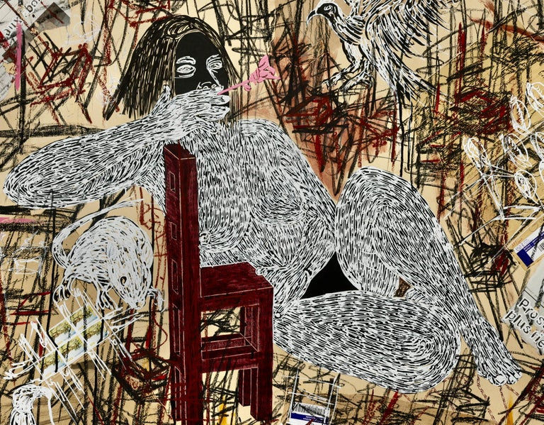 African Contemporary Art - Dame Justice - Beige Nude Painting by Ousmane Dia