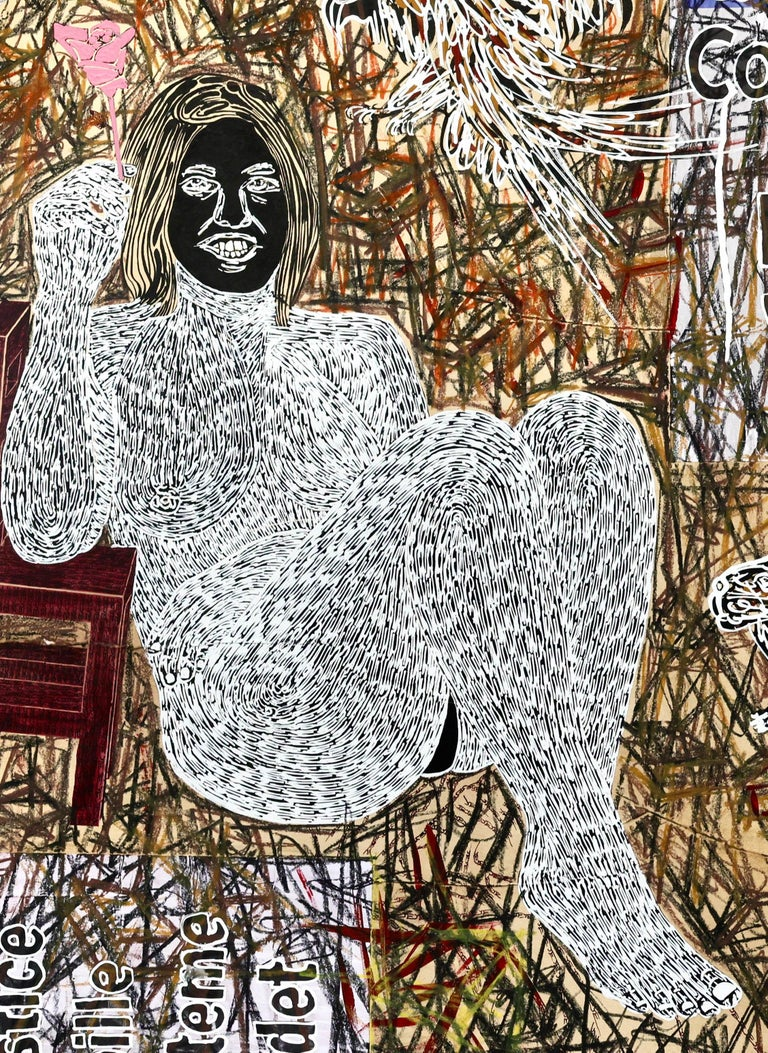 African Contemporary Art - Dame Justice V - Gray Nude Painting by Ousmane Dia