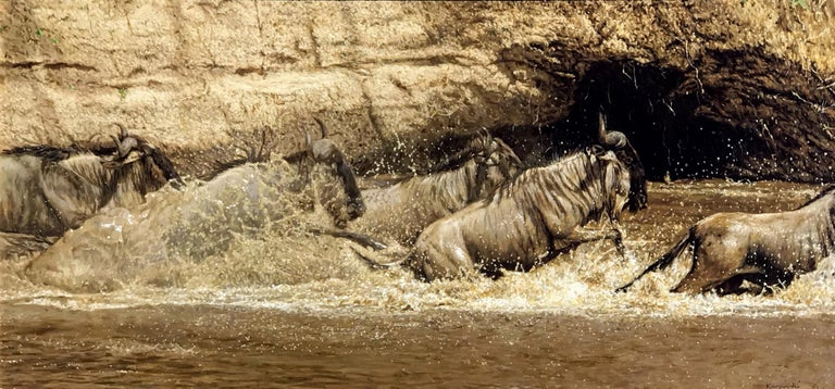 Wildebeest Crossing - Painting by Tony Karpinski
