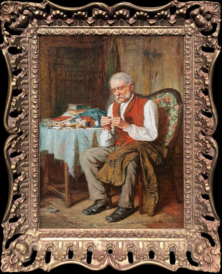 'A Fireside Read' and 'Threading the Needle' (Pair) - Painting by Robert W Wright