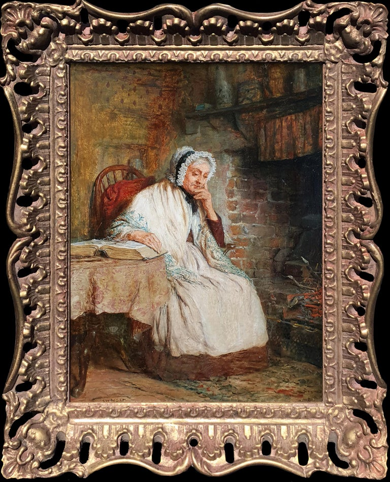 Robert W Wright Interior Painting - 'A Fireside Read' and 'Threading the Needle' (Pair)