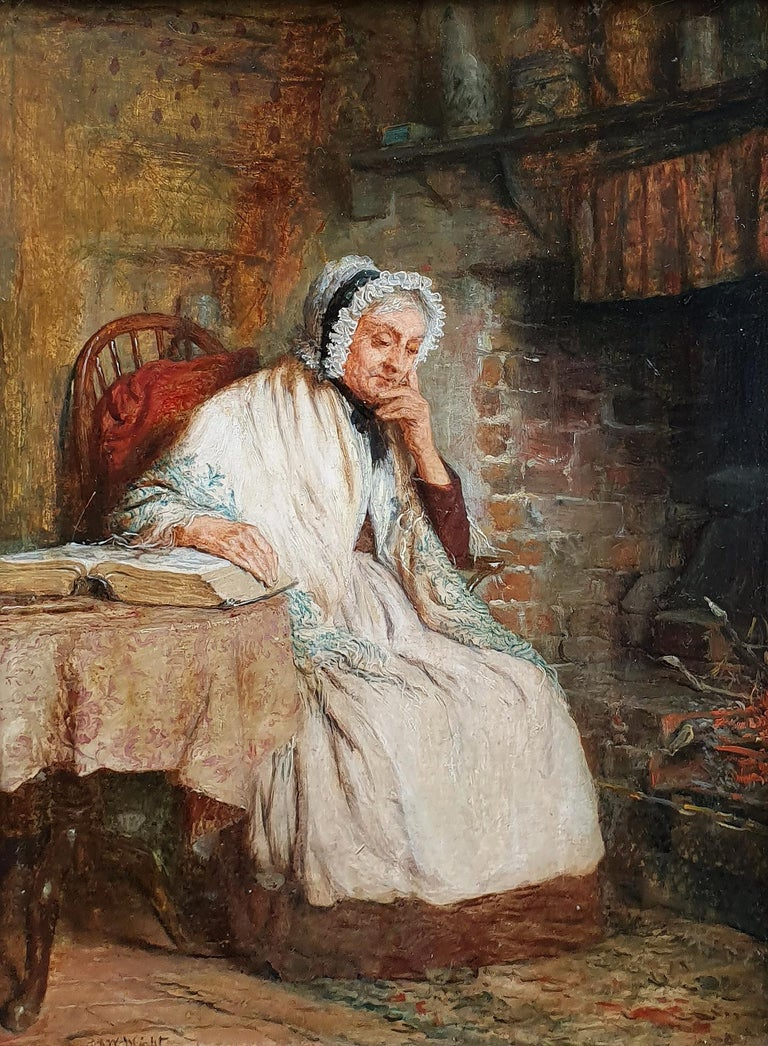 'A Fireside Read' and 'Threading the Needle' (Pair) - Brown Interior Painting by Robert W Wright