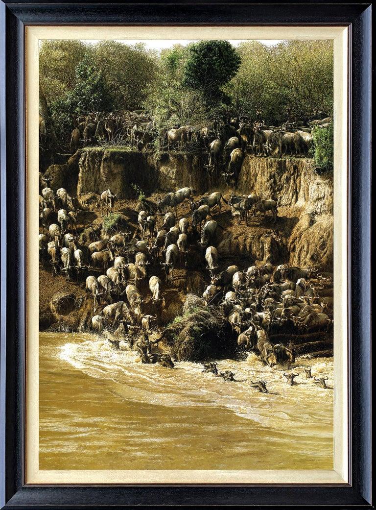 Tony Karpinski Animal Painting - Wildebeest Crossing