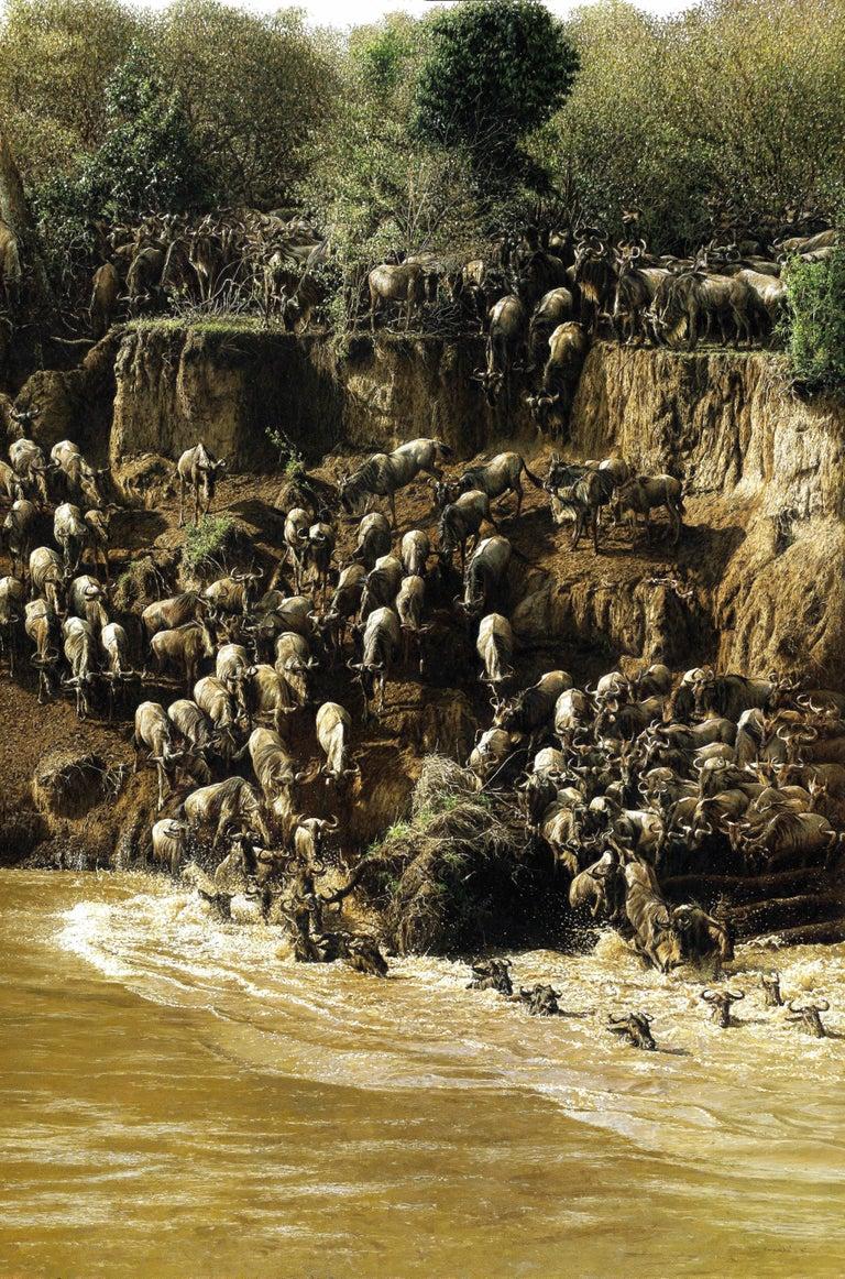 Wildebeest Crossing - Painting by Tony Karpinski