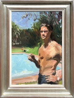 A Man Smoking by a Swimming Pool