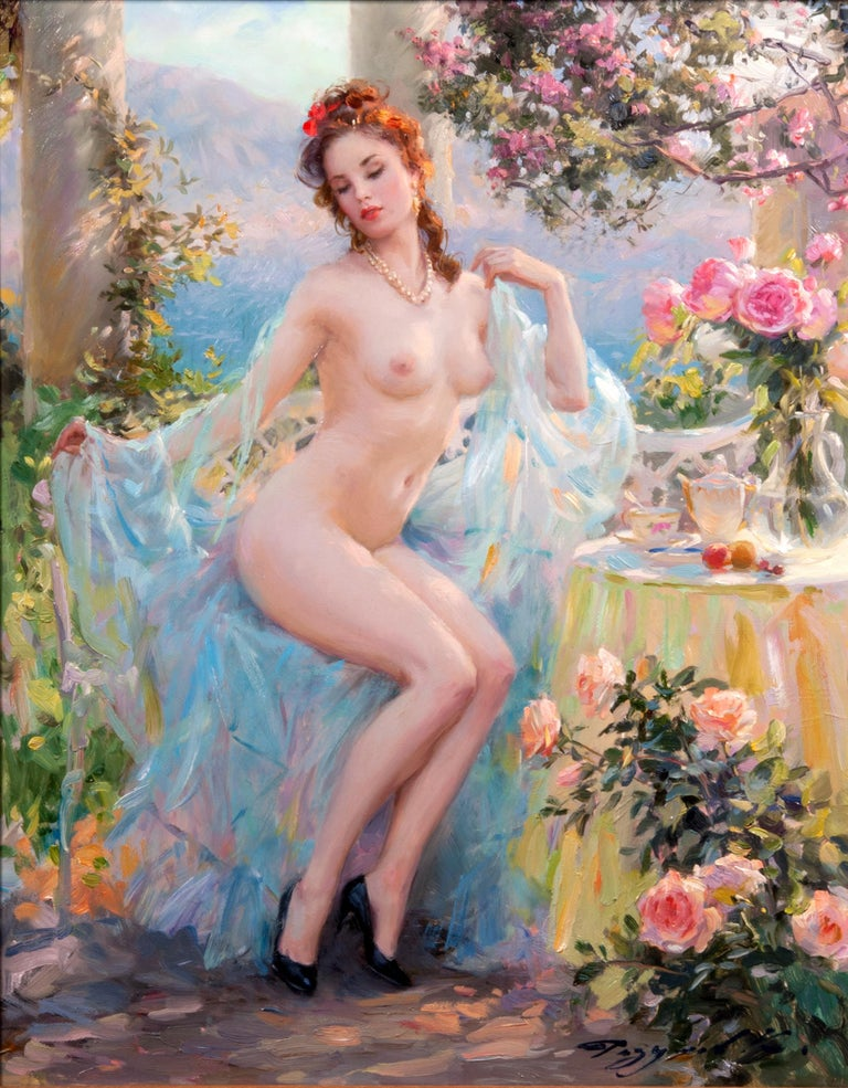 In the Arbour by the Sea - Painting by Konstantin Razumov