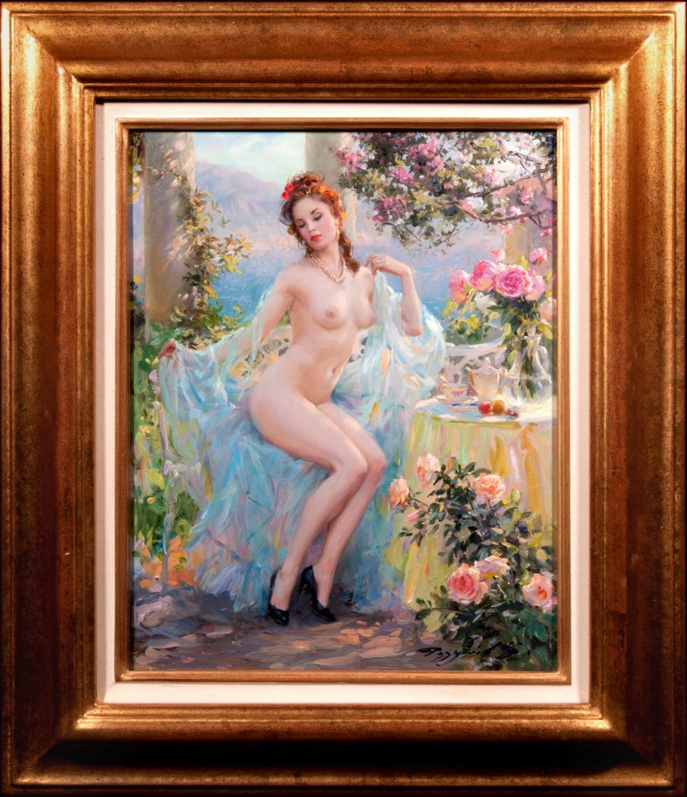Konstantin Razumov Portrait Painting - In the Arbour by the Sea
