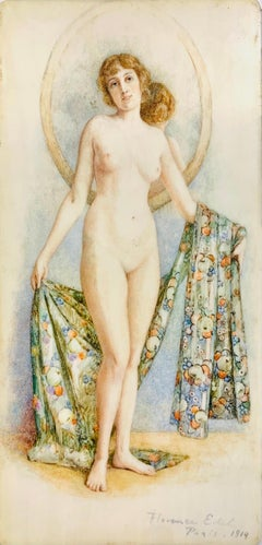 Nude Portrait with Mirror, Original Art Nouveau Painting 1914