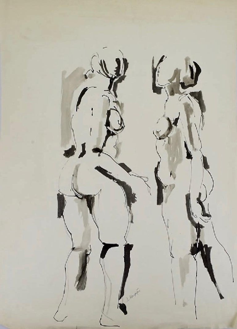 Salvatore Grippi, Figurative Ink and Wash on Paper - Abstract Expressionist Art by Salvatore Grippi