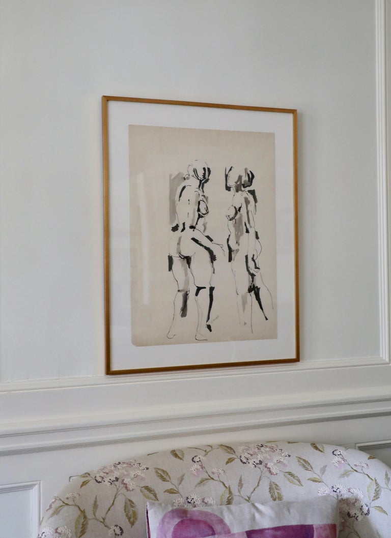 This is an example of Salvatore Grippi's iconic figural works.  Signed in pencil.  Purchased from his estate via auction.  Paper size:  25 7/8 x 18 3/4 inches.  An important member of the New York School of Abstract Expressionists, Grippi was born