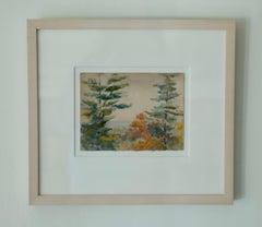 American School, Charming Impressionist Watercolor Landscape