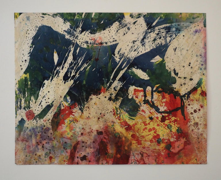 Colorful Abstract Mixed Media on Paper  - Abstract Expressionist Art by Taro Yamamoto