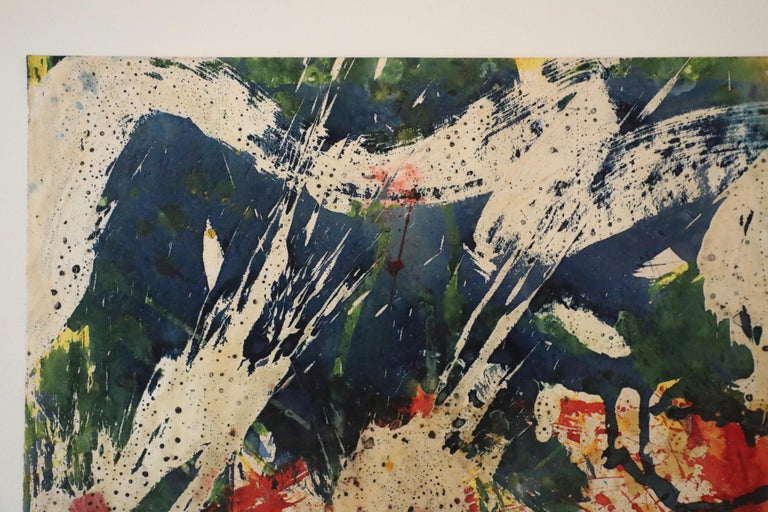 Colorful Abstract Mixed Media on Paper  - Beige Abstract Drawing by Taro Yamamoto