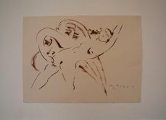 Sepia Ink Drawing on Paper, Leda and the Swan